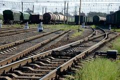 En järnvägsstation. Fotografering för Bildbyråer