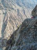 En Jeep Ride Dangerous Road To felika ängar, Nanga Parbat, Karakoram, Pakistan Arkivbilder