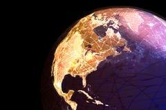 En jordklotvisninginternet och online-anslutningar Arkivbild