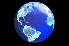 En jordklotvisninginternet och online-anslutningar Royaltyfri Fotografi