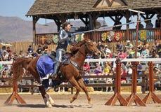 En Joustturnering på den Arizona renässansfestivalen Arkivfoton