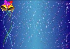 En julbakgrund med klockor, band och konfettier Royaltyfria Bilder