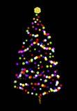En julgran med färgar cirklar på svart Royaltyfri Fotografi