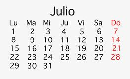 En julio de 2019 calendario de cepillado imagen de archivo libre de regalías