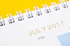 En julio de 2017 página del calendario Imagen de archivo libre de regalías