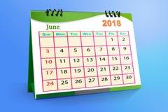 En junio de 2018 calendario de escritorio aislado en fondo colorido ilustración 3D ilustración del vector