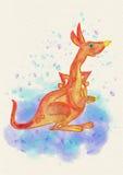En känguru med en behandla som ett barnkänguru för flygillustration för näbb dekorativ bild dess paper stycksvalavattenfärg Arkivbild