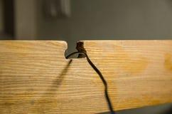En kabel i trähålet arkivbilder
