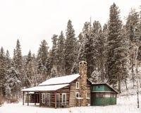 En kabin i vinter i Custer State Park royaltyfri fotografi