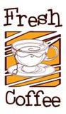 En kaffeetikett med en kopp kaffe Arkivfoto