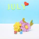 En kalender av månaden av Juli Royaltyfri Fotografi