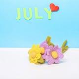 En kalender av månaden av Juli Royaltyfria Foton