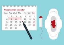 En kalender med de menstruations- dagfläckarna och det menstruations- blocket med blod tappar Vektorillustration av blodperiodkal royaltyfri illustrationer