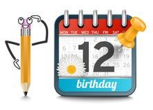 En kalender med en blyertspenna och tusenskönan blommar födelsedag Royaltyfria Bilder