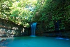 En kall uppfriskande vattenfall som häller in i ett smaragddamm som döljas i en mystisk skog av frodig grönska royaltyfri fotografi