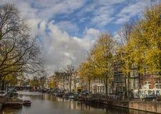 En kanal, Amsterdam Arkivbilder