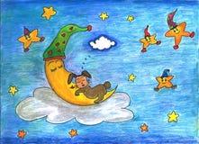 En kanin som sover i den växande månen Royaltyfria Foton
