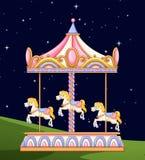 En karusell i parkerar på natten vektor illustrationer