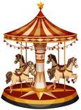 En karusell med bruna hästar vektor illustrationer