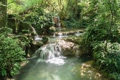 En kaskad av små vattenfall i Forest Krushuna, Bulgarien 4 Fotografering för Bildbyråer