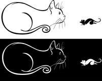 En katt och en mus Arkivfoton