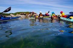 En kayaking handbok förklarar rutten framåt till några paddlers Arkivfoton