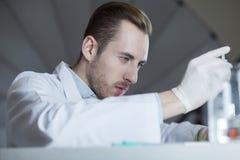 En kemist arbetar med kemikalieer arkivbild
