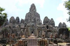 En khmerAngkor tempel Prasat Bayon på det Siem Reap landskapet Cambodja Royaltyfri Fotografi