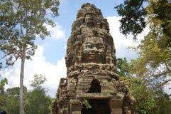 En khmerAngkor tempel (Prasat Ta Prohm) på Siem Reap Cambodja Arkivbild