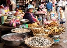 En khmerkvinna som säljer skaldjur på den traditionella matmarknadsplatsen Fotografering för Bildbyråer