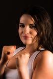 Härlig kvinnlig boxare Royaltyfri Foto