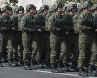 En Kiev en desfile de los militares de Khreshchatyk Fotografía de archivo