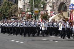 En Kiev en desfile de los militares de Khreshchatyk Fotos de archivo libres de regalías
