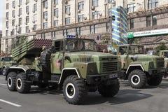 En Kiev en desfile de los militares de Khreshchatyk Foto de archivo