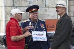En Kiev en desfile de los militares de Khreshchatyk Imágenes de archivo libres de regalías