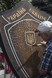 En Kiev en desfile de los militares de Khreshchatyk Foto de archivo libre de regalías