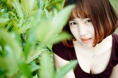 En kinesisk flicka i trädgården Royaltyfria Bilder