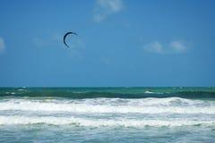 En kitesurfer som kiteboarding på havet Fotografering för Bildbyråer