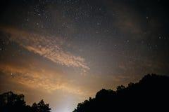 En klar natthimmel med en kulle och träd i förgrunden Royaltyfri Bild