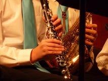 En klarinett och en saxofon Royaltyfri Fotografi