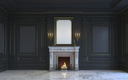 En klassisk inre är i mörka signaler med spisen framförande 3d Royaltyfria Bilder
