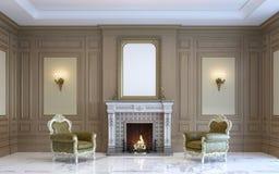En klassisk inre med den wood panel och spisen 3d framför Royaltyfria Bilder