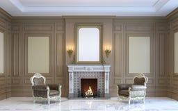 En klassisk inre med den wood panel och spisen 3d framför Royaltyfri Foto