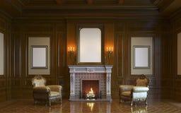 En klassisk inre med den wood panel och spisen 3d framför Royaltyfri Bild