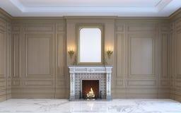 En klassisk inre med den wood panel och spisen framförande 3d Royaltyfri Foto