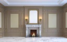 En klassisk inre med den wood panel och spisen framförande 3d Royaltyfria Foton