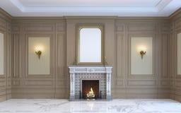 En klassisk inre med den wood panel och spisen framförande 3d Royaltyfria Bilder