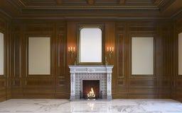 En klassisk inre med den wood panel och spisen framförande 3d Fotografering för Bildbyråer
