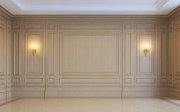 En klassisk inre med wood panel framförande 3d Royaltyfria Bilder