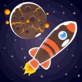 En klistermärke av en brun raket med apelsinband och blåa hyttventiler Arkivfoto
